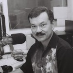 Luis Medina during a radio broadcast.